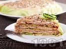 Рецепта Лесна солена палачинкова торта с бекон и топено сирене
